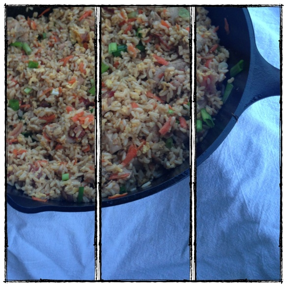 fried brown rice, with chicken, bacon, and veggies