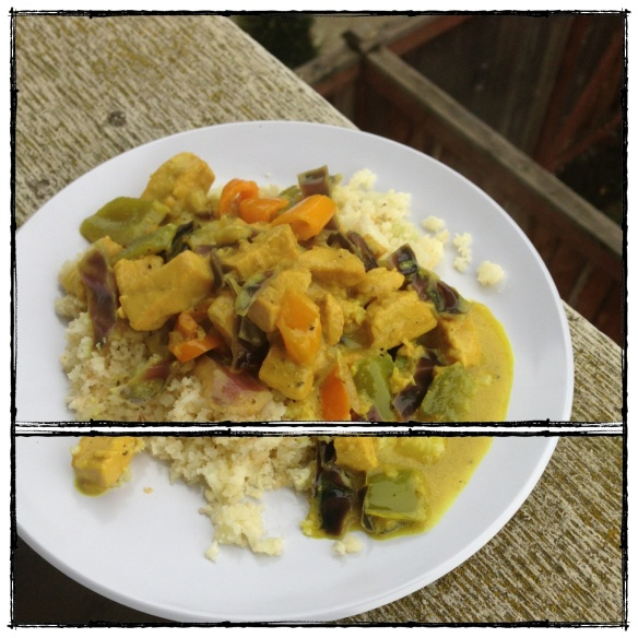 chicken and vegetable curry, made with cauliflower %22rice%22... grain free, dairy free, paleo