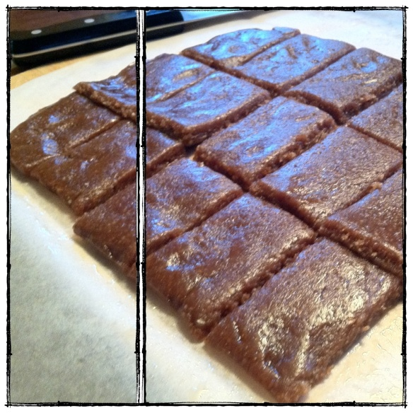 peanut butter bars, similiar to lara bars. sweetened with dates