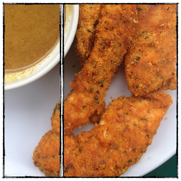 Chicken Fingers with Honey Mustard Sauce (grain : gluten : dairy free, paleo)