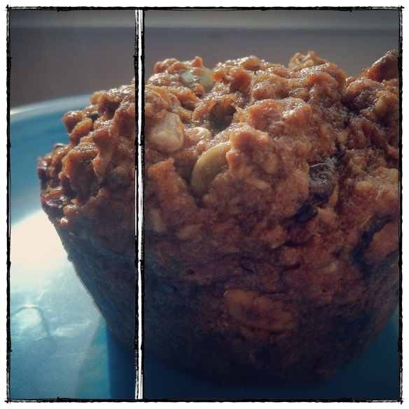 morning glory muffins with seeds, fruit, and nuts.